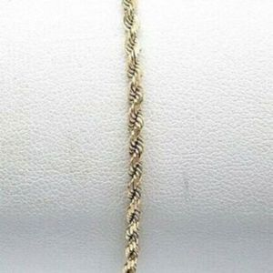 """Jewelry - 14k Solid Yellow Gold 2mm Rope Chain Bracelet 7"""""""